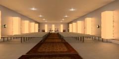 Vision över salen. Öppning i taket för hög takhöjd